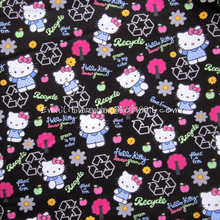 hk123 - 1 Yard Cotton Woven Fabric - Sanrio Cartoon Characters, Hello Kitty and Apple Tree - Black (W140)