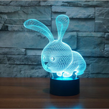 Kawaii 3D LED Night Light Lovely Cartoon Rabbit 7 Color Change Table Animal Lamp Home Child Bedroom Decor Kids Birthday Gift RGB
