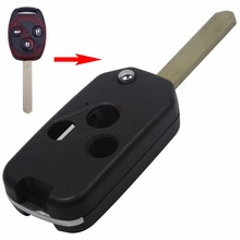 Uncut Blade 3 Buttons Folding Flip Remote Key Shell Cover For Honda Accord Insight CRV Civic Odyssey Pilot Ridgeline