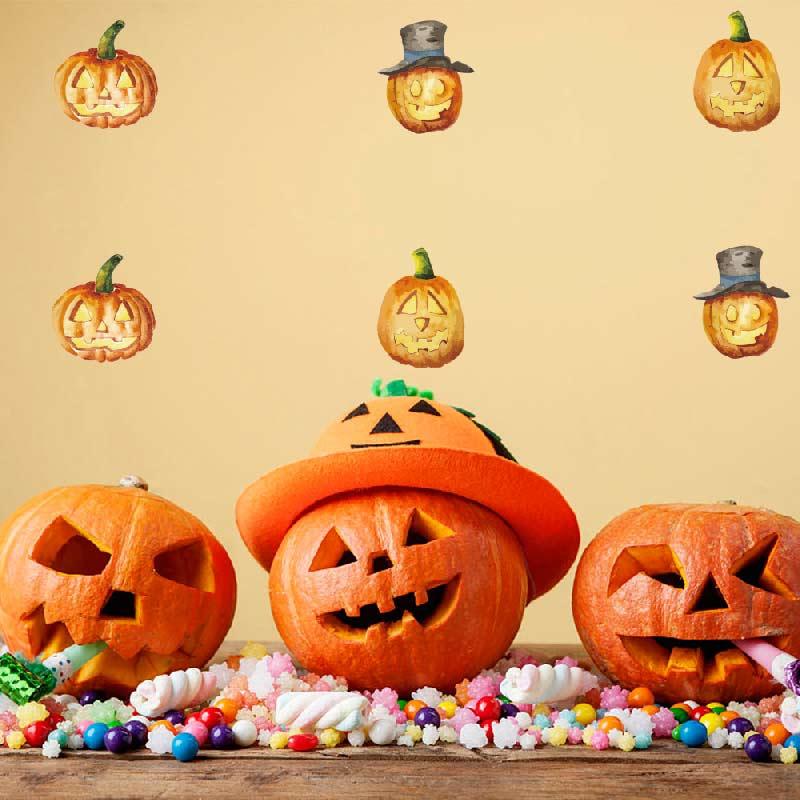 2017 new halloween pumpkins wall stickers cheap diy creative party decoration cartoon kids gift sticker shop - Halloween Party Store