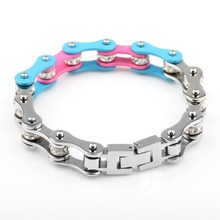 Fashion Light Blue & Pink Candy Color Stainless Steel Crystal Bicycle Chain Bracelet Bike Chain Jewelry Accessories for Girls