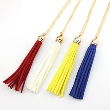 Boho Leather Tassel Necklace Gold Filled Chain Link Velvet Tassel Long  Necklace Female Fashion Jewelry