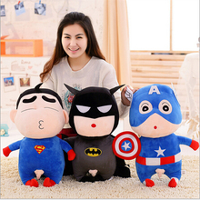 Hot 20~55cmNew Arrival Betman Captain America Superman Cute Cartoon Figures Plush Toy Doll recording Gift for kids free shipping
