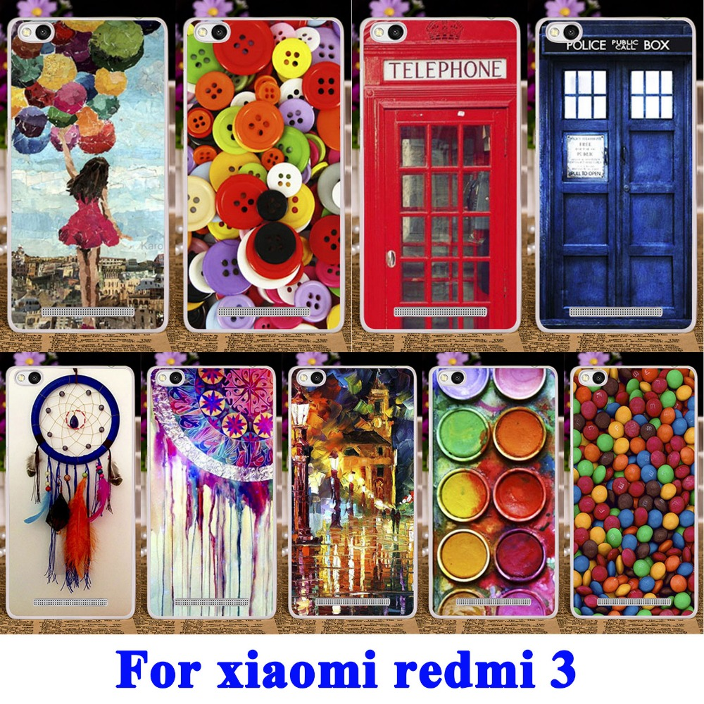 Chocolate Candies Telephone Booth Soft TPU & Hard PC Cases for Xiaomi Redmi 3 Cover 5.0 Redmi3 Hongmi3 Hongmi 3 Mobile Phone Bag(China (Mainland))