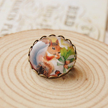 12pcs/lot Cute Squirrel Brooch Pin Wholesale Vintage Animal Pins Handmade Christmas Badge xz07(China)