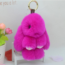 2017 Newest Rose Red Color Genuine Rex rabbit Furs Keychain Pendant Bag Car Fluffy Bunny Rabbit Keychain Toy Doll Fur Keychains