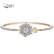 QIAMNI Beautiful Women's Charm Wedding Jewelry Star Flower Cubic Zircon Bangles Fashion Wrist Bracelet Vintage Accessories Girls(China)