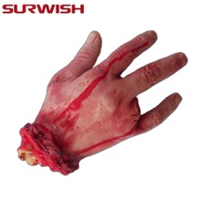 SURWISH Scary Horror Blood Fake 4 Fingers Broken Hand Horror Halloween Decoration(China)