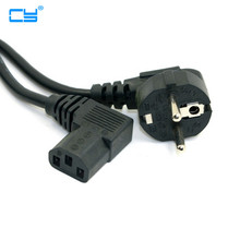 Europe EU plug Flat Nema 5-15P to IEC C13 Left Angled Power Cord for LCD LED Wall Mount TV 5ft 1.5m