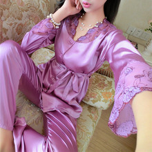 2017 Autumn Women Ladies Sexy Flower Lace Satin Silk Pajamas Sets Long Sleeve Tops+Pants Sleepwear mujer Nightwear pyjama femme