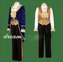 Movie Beauty and the Beast Prince Tuxedo Adult Cosplay Costume For Halloween Party Costume Custom Made