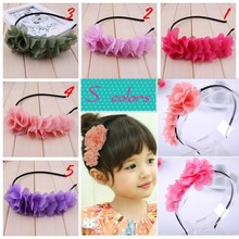 retail girl cute long flower headband  head hoop headband hair accesories 5colors in stock