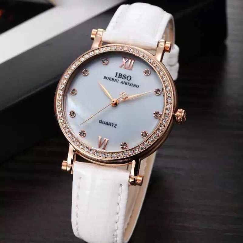 IBSO Brand Luxury Red Fashion Women Watches 2017 High Quality Crystal Diamond Watch Women Genuine Leather Strap Montre Femme<br><br>Aliexpress