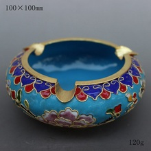 The characteristics of Beijing China wind technology gift genuine fetal copper filigree Enamel Cloisonne ashtray Home Furnishing