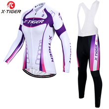 X-Tiger Autumn Breathable Women Cycling Clothing/MTB Bicycle Wear Ropa Ciclismo/Race cycling Clothes/Bike Cycling Jersey Set(China)