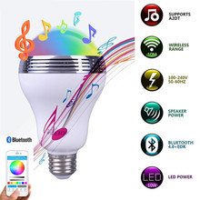 Multi-color Available Wireless Buletooth Music Player LED Light Bulb Dimmable Audio Speaker Via Phone Bluetooth App Control