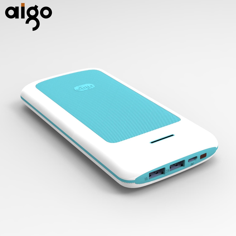 Aigo 20000mAh Power bank Dual USB Port Stripe Design Micro input fire-resistant Powerbank Mobile Smart Battery Portable Charger