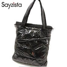 Sayzisfa 2017 Brand New Winter Women Warm Handbags Korean casual Ladies Down bag Fashion Shoulder Bags Female tote Bolsa T450(China)