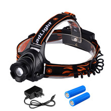 Professinal Waterproof Zoomable LED Headlamp Headlight 4800LM 3 Mode Head Lamp Head Light with 2*18650 Battery Free Shiping