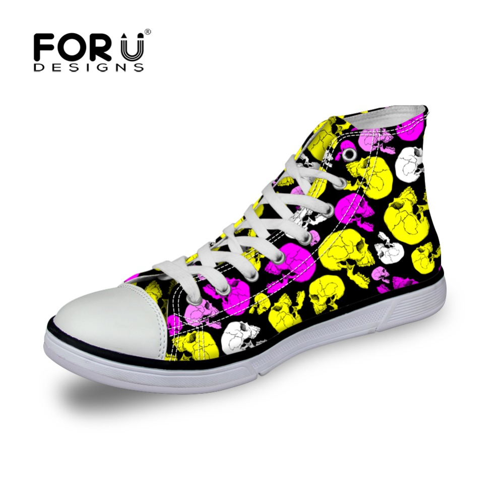 FORUDESIGNS Fashion Women Canvas Shoes High-Top Teen Skull Shoes for Female Brand Womens Casual Flat WalKing Shoes Plus Size<br>