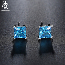 ORSA JEWELS Cute Silver Color Earring Studs with 1.2ct Blue Cubic Zirconia for Girl 2017 Fashion Women Jewelry Earrings OE155