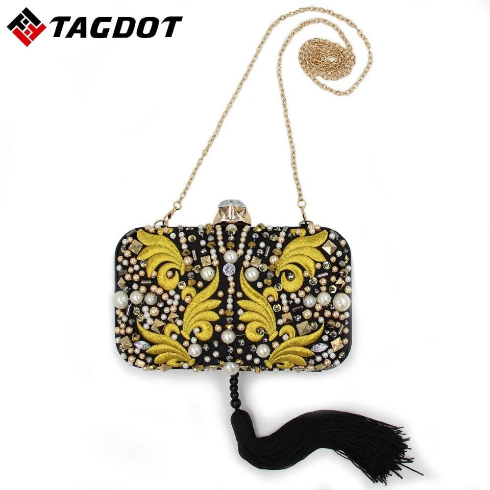 Tagdot 2017 Fashion Clutch Bags Evening Bag pearl Embroidery Women Evening Clutch Handbag Night Day Clutch Bags Shoulder Bag<br>