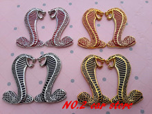 1pair Free shipping Metal 3D Mustang Snake Cobra car emblem Side Badge rear Trunk stickers Auto accessories