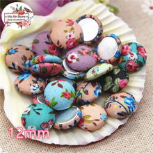 50pcs mix color Flatback flower Fabric Covered round Buttons Home Garden Crafts Cabochon Scrapbooking DIY 12mm