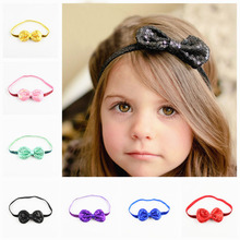 Wholesale 30pcs/lot Shiny Embroidered Boutique Hair Bows Headband For Girls Sequin Knot Bows Headwear Free Shipping FDA208