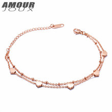 AMOURJOUX Romantic Gold Color Dual Layer Chain Heart Charm Bracelets For Women 316L Stainless Steel Bracelet Woman Gift(China)
