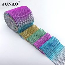 Rainbow Color Plastic NO Rhinestone Trimming Sew Diamond Mesh Banding In Roll for Clothes Appliques Decoration 10 Yard(China)
