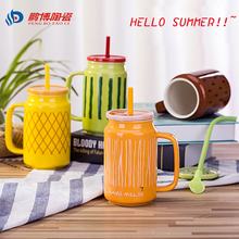 500ml Creative ceramic milk mug with fruites cute coffee cup Heat-resistant Celadon cup nice gift with straw free shipping melon