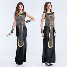M-XL New Women Glitter Sequins Egypt Queen Cleopatra Costume Adult Halloween Arab Queen Fancy Dress Nightclub Stage Wear