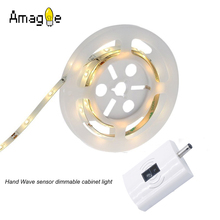 Amagle Hand Waving Activated Cabinet Light Flexible LED Strip Night Light Bedside Lamp Illumination Dimmer Cabinet Bed Light