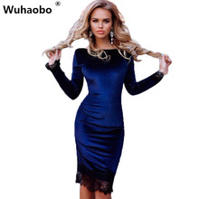 Buy Wuhaobo Elegant Black Lace Patchwork Velvet Dress Women Fashion Casual Long Sleeve Blue Bodycon Office Party Dresses Vestidos for $6.90 in AliExpress store