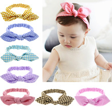 12PCS/LOT Chinese Style Rabbit Ears Knot Hair Headbands,Dots Stripes Lattice Handmade Hair Accessories Party Dress Up Best Gift(China)
