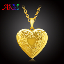 ARUEL fashion gold color heart classic locket photo pendant necklaces women girl romantic locket charm popular jewelry gift