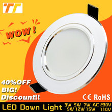 Led Downlight 3W 5W 7W 9W 12W 15W 18W 220V 110V LED Ceiling Bathroom Lamps Led Ceiling Lamp Home Indoor Lighting free shipping