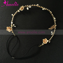 Cheap Price Flower Chain Simple Fashion Gold Headband Ladies Party Decorated Hair Accessories Chain Hairbands(China)