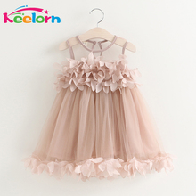 Keelorn Summer Mesh Vest Girls Dress Baby Girl Princess Dress Fashion Sleeveless Petal Decoration Party Children Clothes
