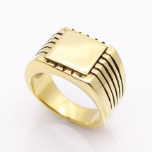 Fine Jewelry Men's High Polished Signet Solid Stainless Steel Ring 316L Stainless Steel Biker Ring For Men Gold Color Jewelry