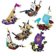 KAZI 6pcs/set Pirates Ghost boat Compatible Legoe ship model Construction Building Blocks Bricks enlighten toys for children boy(China)