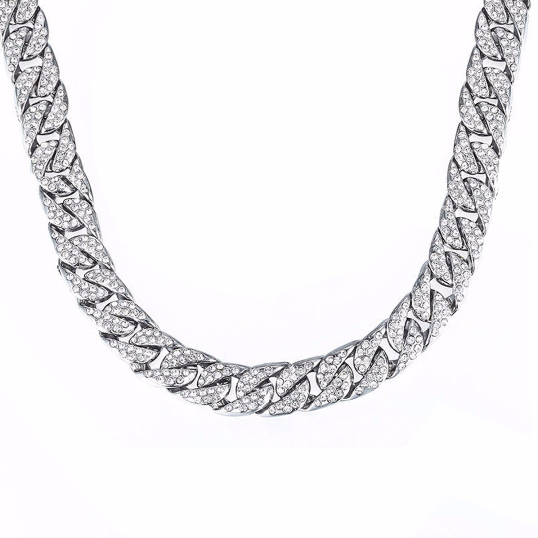 14mm Curb Cuban Chain Necklace For Men 18K Silver Plated Hip Hop Rhinestones CZ Rapper Necklace Jewelry Length 66cm