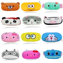 Cartoon Kawaii Pencil Case Cartoon Totoro Minions Hello Kitty Plush Large Pencil Bag For Kids Children School Supplie Stationery(China)