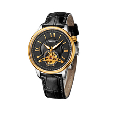 TOP BRAND LUXURY SKELETON  MECHANICAL WATCH GOLD CASE BLACK LEATHER JAPAN AUTOMATIC MOVEMENT WATERPROOF CASE MANS CLOCK WATCHES
