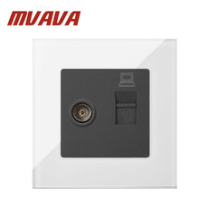 MVAVA TV + PC Data Sokcet White Tempered Glass RJ45 Computer Internet & Television Socket Jack Outlet Wall Socket Free Shipping