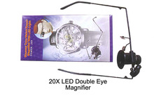 20X LED Double Eye Repair Magnifier Glasses Mini Loupe Lens Magnifying Glas with Light Watch(China)