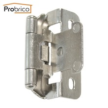 Probrico 20 Pair Self Close Kitchen Cabinet Hinge Brushed Nickel CH199BSN Partial Wrap 1/4-Inch Overlay Furniture Cupboard Hinge(China)