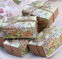 10pcs Casamento World Map Wedding Favors Boxes Wedding Candy Box Around the World Birthday Gifts Event Party Decoration Supplies