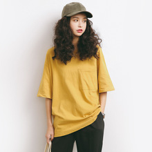 summer loose T-Shirts women  Solid color Short Sleeve O-neck Pocket Cotton girls black blue and yellow t shirt A632